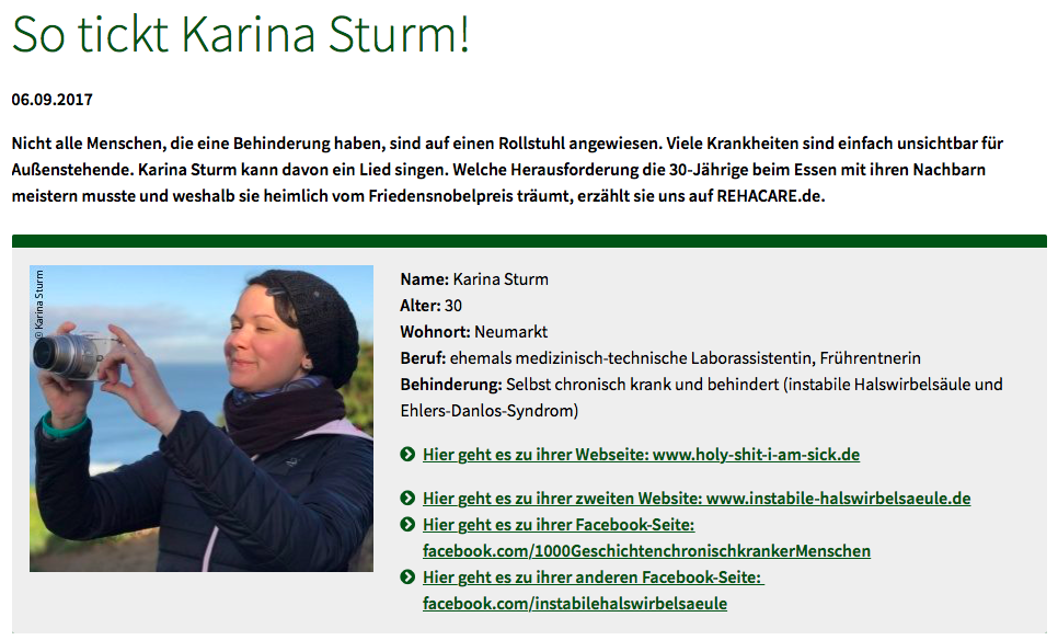 Screenshot des Rehacare Interviews über Karina Sturm