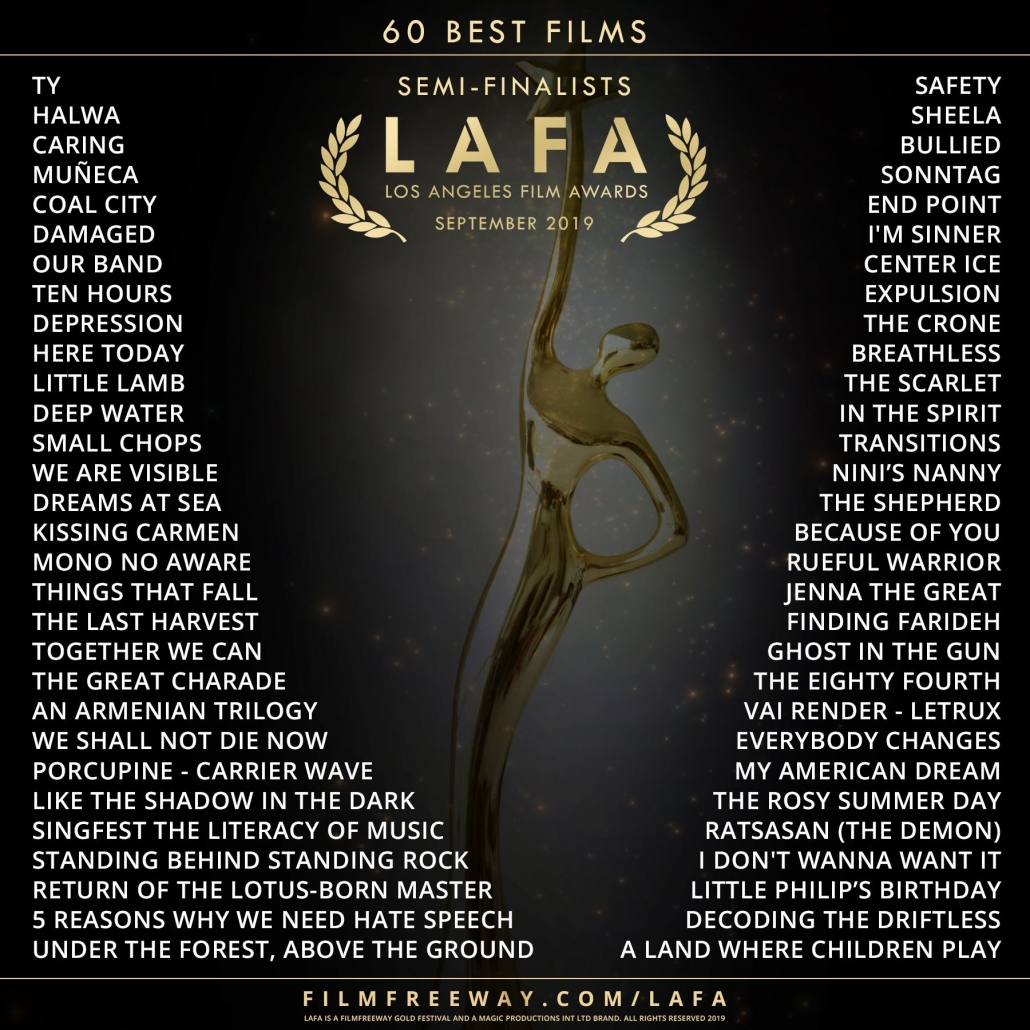 Oscar Figur und Text: 60 Best Films, Semi-Finalist, LAFA, Los Angeles Film Awards, September 2019