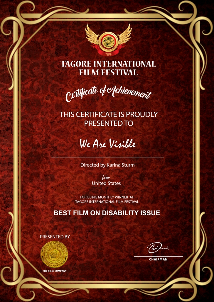 Urkunde Tagore International Film Festival: Certificate of Achievement, We Are Visible, Disability Issue