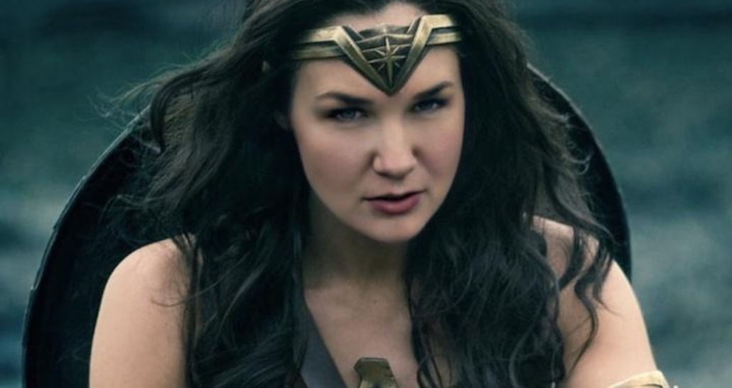 Wonder Woman with Karina's face. A woman with long brown hair in fighting gear