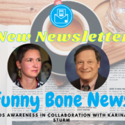 Karina, a woman with short brown hair and John, a man with a suit. Text: New newsletter. Funny Bone News