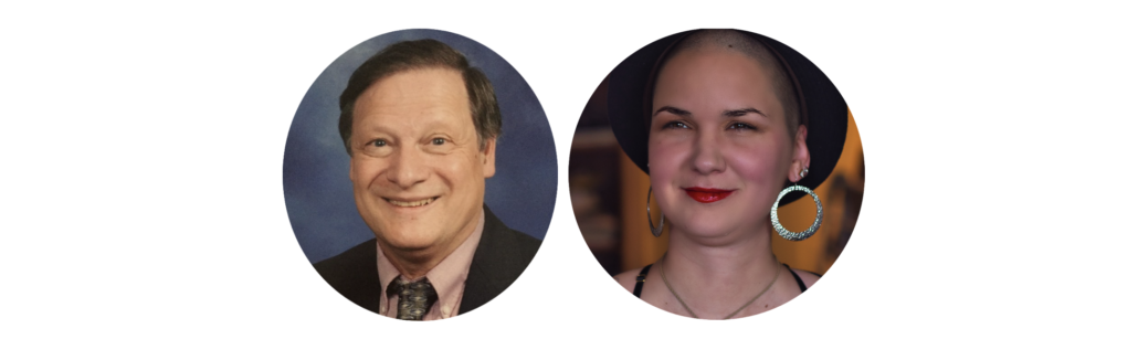 Two head shots. One is John Ferman, a man with short brown hair wearing a suit. He is smiling. The other one is Karina, a woman with shaved hair, wearing a black hat and huge silver hoops